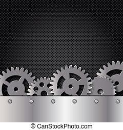 abstratos, metal, e, vidro, fundo, com, quadro, e, gears., vetorial, illustration.