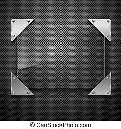 abstratos, metal, fundo, com, vidro, framework., vetorial, illustration.
