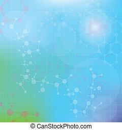 abstratos, moléculas, médico, fundo, (vector).