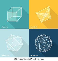 abstratos, molecular, formas