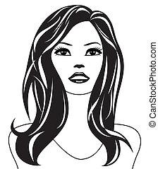 abstratos, mulher, pretas, branca