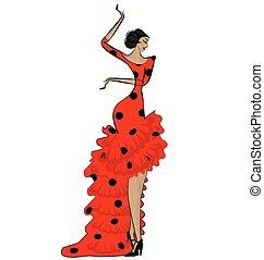 abstratos, mulher, pretas, flamenco, vermelho