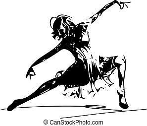 abstratos, mulheres, ilustração, dançar