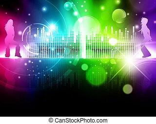 abstratos, multicolored, fundo, discoteca
