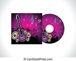 abstratos, musical, cd, modelo