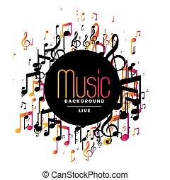 abstratos, musical, desenho, fundo, notas música