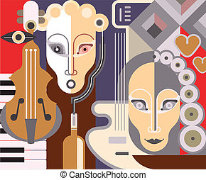 abstratos, musical, fundo