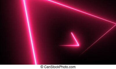 abstratos, néon, fundo, triângulos