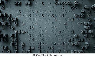 abstratos, números, aleatório, movimento