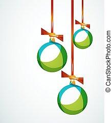 abstratos, -, natal, feliz, bola, bauble, cartão