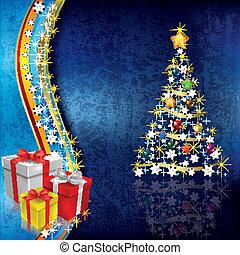 abstratos, natal, fundo, com, árvore