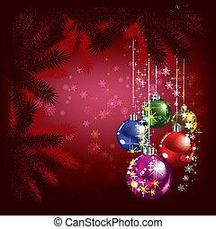 abstratos, natal, fundo, com, árvore, e, decorações