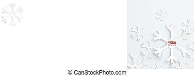 abstratos, natal, snowflake, papel, 3d, backbround