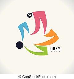 abstratos, negócio, imagem, família, símbolo, desporto, experiência., vetorial, desenho, human, ícone, branca, logotipo