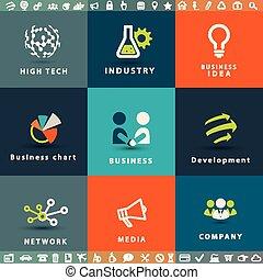 abstratos, negócio tecnologia, vetorial, ícones, jogo
