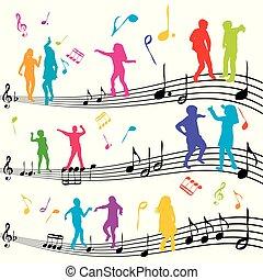 abstratos, nota música, com, silhuetas, de, crianças, dançar