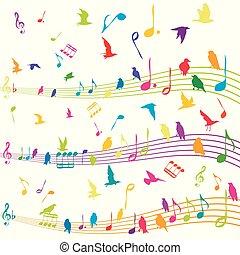 abstratos, nota música, com, silhuetas, de, pássaros voando