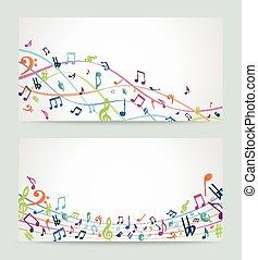 abstratos, notas música, coloridos