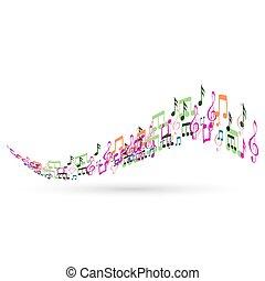 abstratos, notas, música, fundo, coloridos