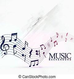 abstratos, notas música, fundo, onda