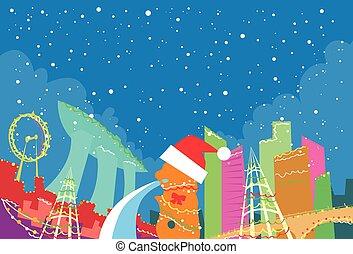 abstratos, novo, skyline, natal, cidade singapore, arranha-céu, ano, silueta