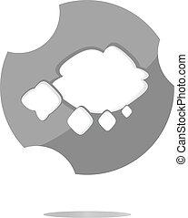 abstratos, nuvem, teia, ícone, botão, isolado, branco
