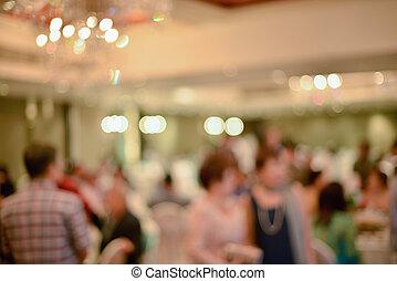 abstratos, obscurecido, de, cerimônia casamento, em, corredor convenção
