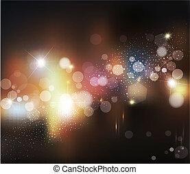 abstratos, obscurecido, luzes, vetorial, defocused, fundo