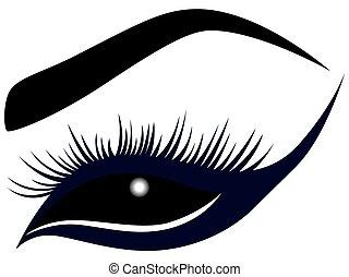 abstratos, olho, longo, chicotadas, femininas