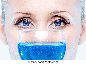 abstratos, olhos azuis