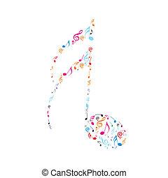 abstratos, olour, notas música