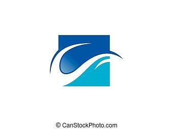 abstratos, onda, água, vetorial, logotipo, ícone