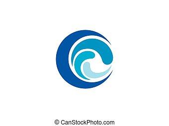 abstratos, onda, água, vetorial, logotipo, redondo, ícone
