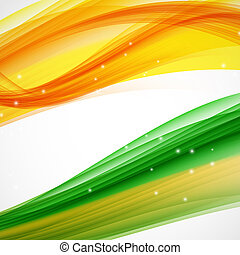 abstratos, onda, experiência., verde, laranja, branca, illus