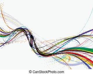 abstratos, onda, fundo, composição