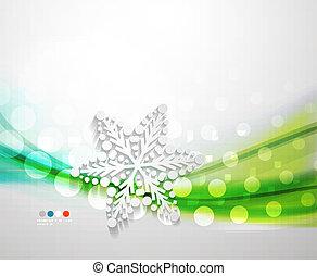 abstratos, onda, snowflake, fundo, natal