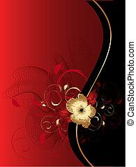 abstratos, ondas, com, floral, ornamento