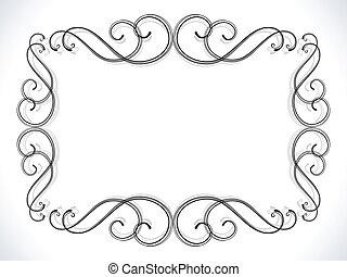 abstratos, ornamental, borda, floral