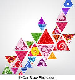 abstratos, ornamental, triangulo, fundo