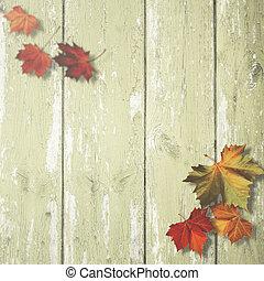 abstratos, outonal, fundos, com, maple sai, sobre, antigas, escrivaninha madeira