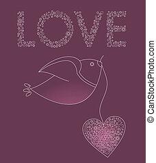 abstratos, pássaro, com, um, cor-de-rosa, coração