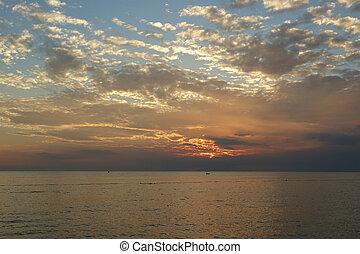 abstratos, pôr do sol, fundo, oceânicos