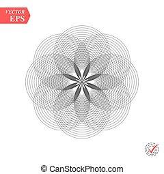 abstratos, padrão, de, cruzar-se, e, sobrepondo, circles., contemporâneo, doily, redondo, renda, padrão floral, card., mandala