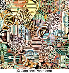 abstratos, padrão geométrico, de, círculos