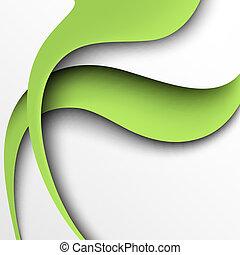 abstratos, papel, experiência verde