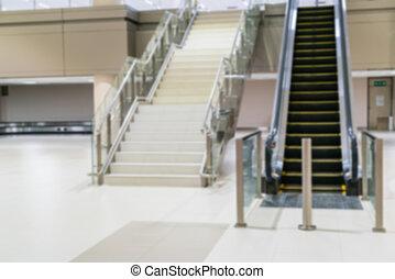 abstratos, passos, escada rolante, borrão