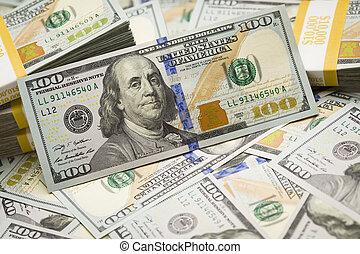 abstratos, pilhas, de, a, eua., novo, cem contas dólar