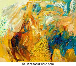 abstratos, pintura óleo