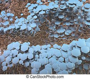 abstratos, polygonal, metálico, favo mel