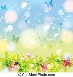 abstratos, primavera, verão, fundo